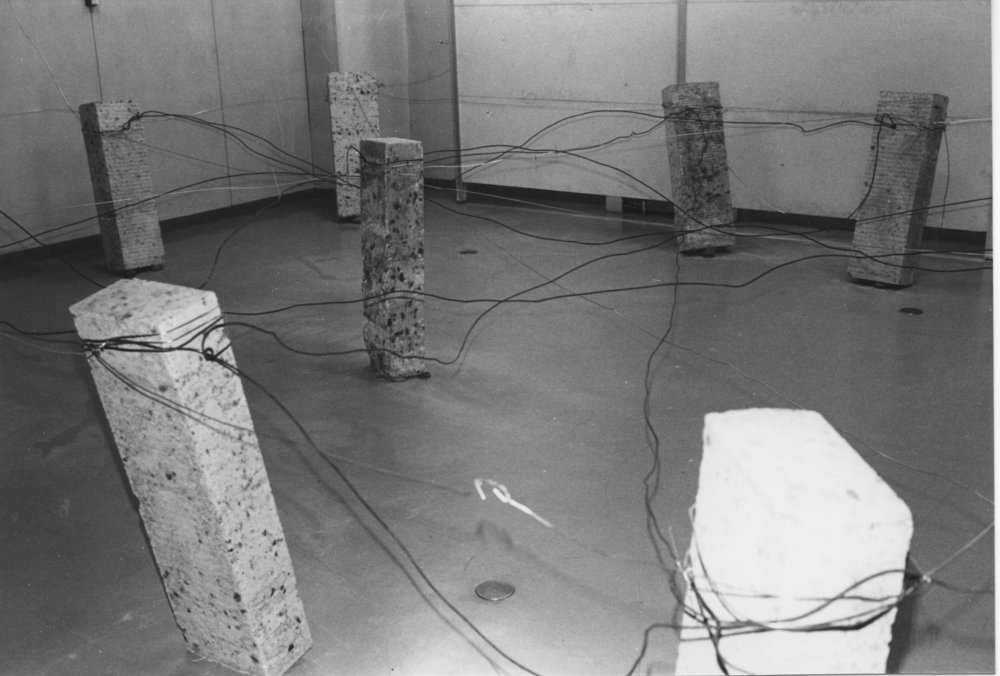 Placement of Condition , 1973 状況置 ( Jōkyōchi ) Oya stone, wire Dimensions variable Installation view,  Cause of Situation , Morioka City Hall, 1973 Photo: Kishio Suga