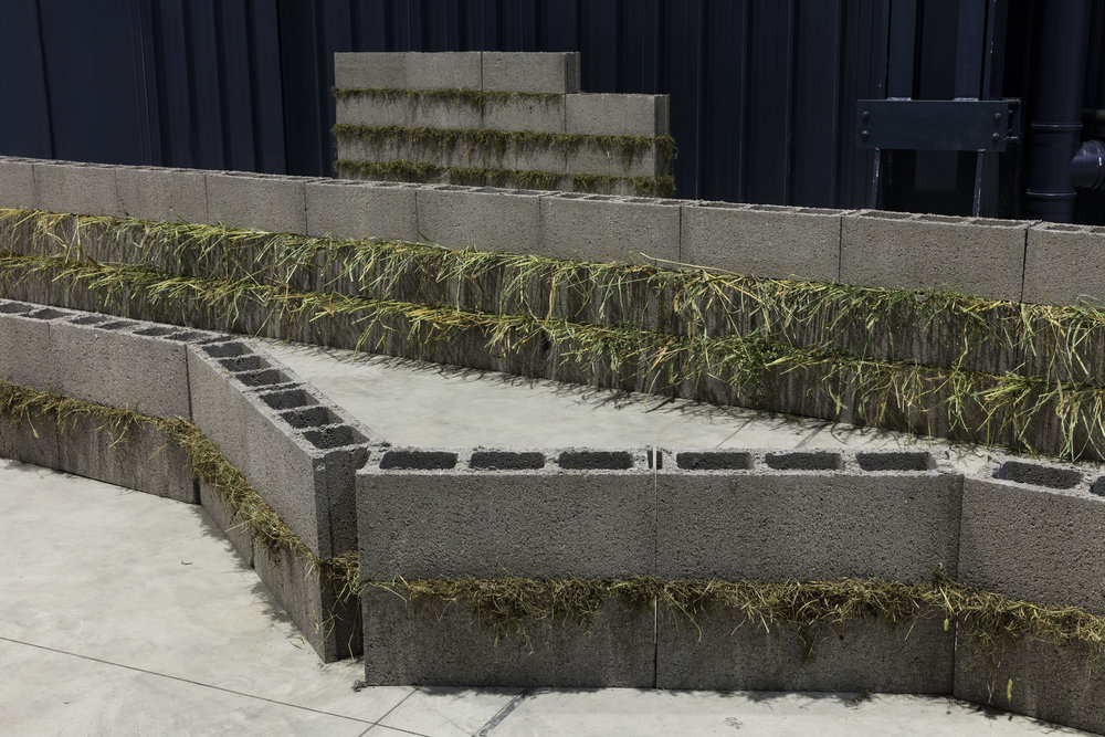 Units of Dependency ,1974/2016 依存位 ( Izon'i ) Concrete blocks, grass 100 x 980 x 550 cm Installation view, Kishio Suga: Situations , Pirelli HangarBicocca, Milan, 2016 Photo: Agostino Osio; Courtesy Pirelli HangarBicocca, Milan