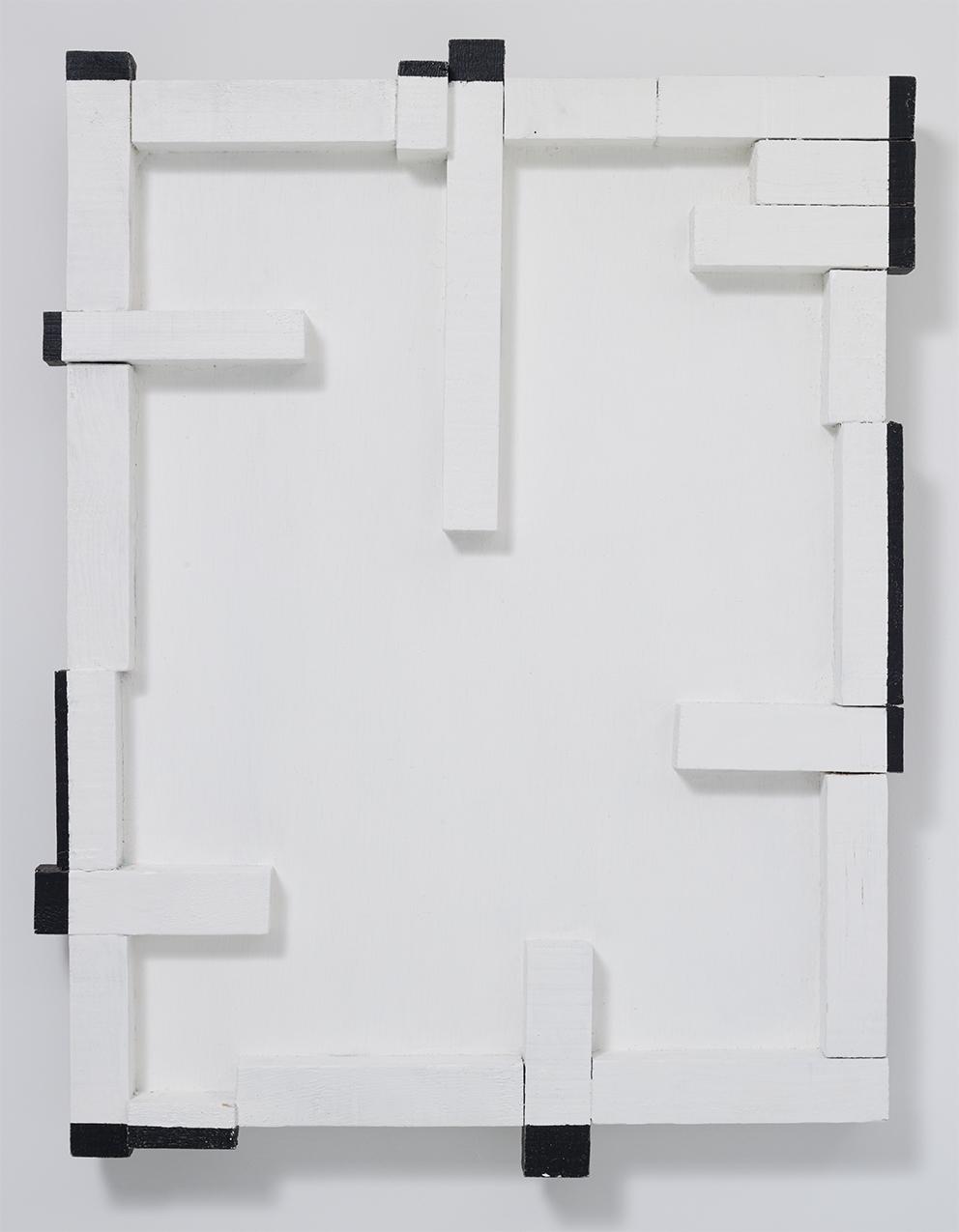 PROTRUSION 88D ,1988 Oil paint on wood 78 x 59.5 x 6.6 cm