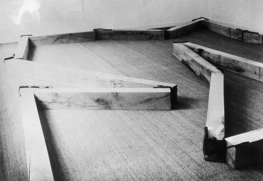 Contorted Positioning , 1982 曲位 ( Kyokui ) Wood, twigs Dimensions variable Installation view, Galerie Baudoin Lebon, Paris, 1982 Photo: Kishio Suga