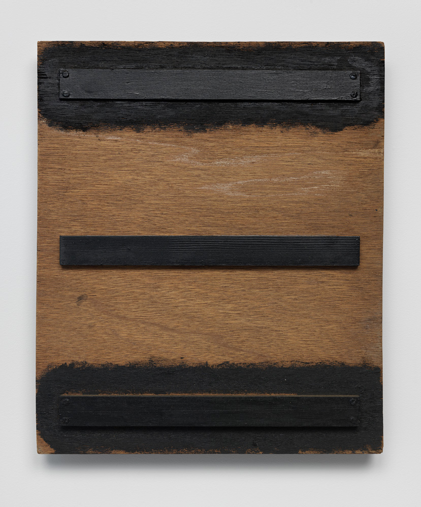 Three Realms , 1977 三界 ( Sankai ) Wood, paint 16 9/16 x 13 7/8 x 1 7/8 inches  42 x 35.2 x 4.7 cm
