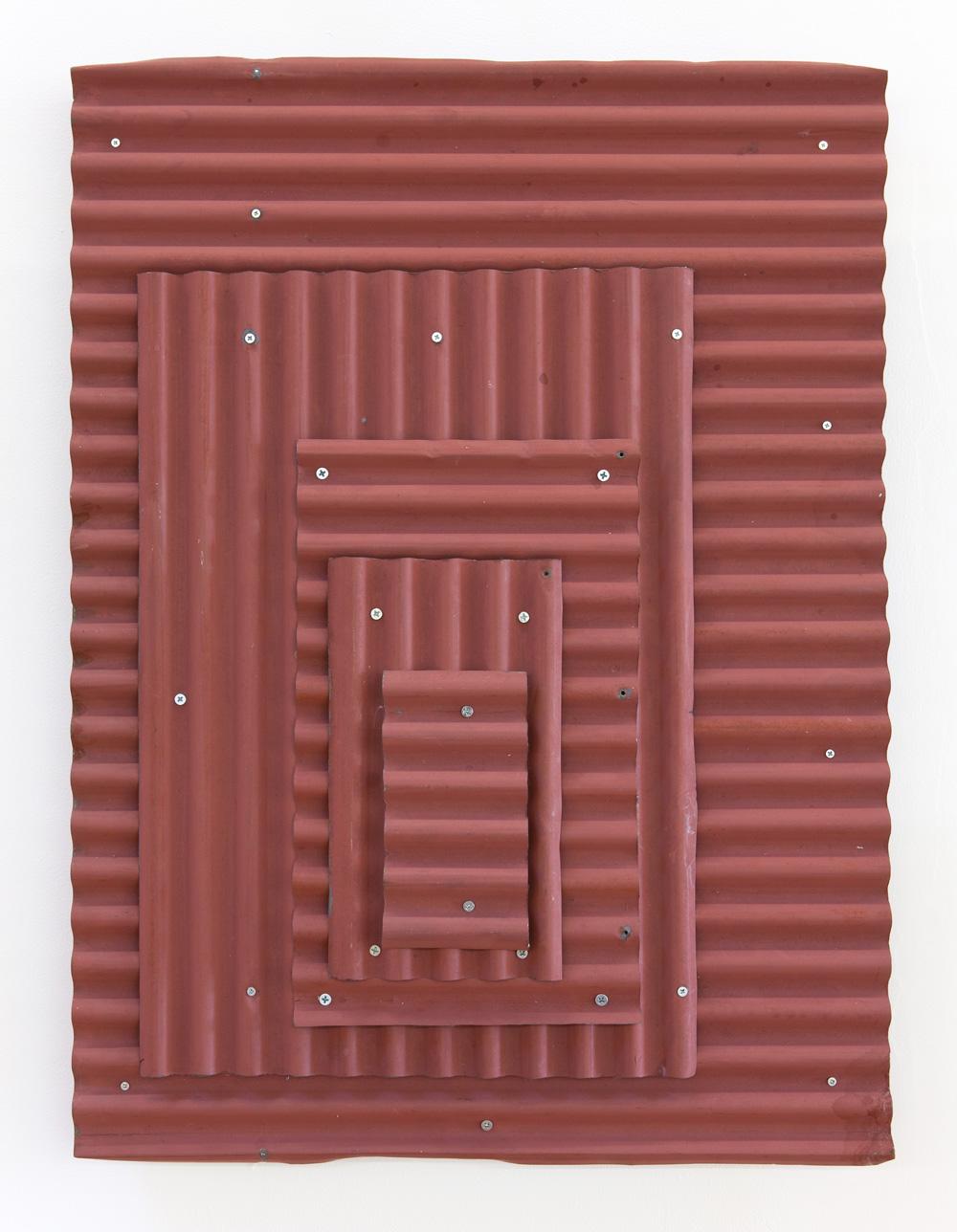 Space in the Middle , 1996 集位在間 ( Shūi Zaikan ) Corrugated galvanized iron, acrylic 29 7/8 x 22 7/16 x 3 1/2 inches 76 x 57 x 9 cm