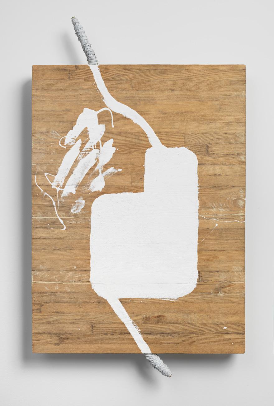 Separation of Bound Spaces , 1993 分離間結 ( Bunri Kanketsu ) Wood, wire, white paint 29 1/8 x 17 1/8 x 2 3/4 inches 74 x 43.5 x 7 cm
