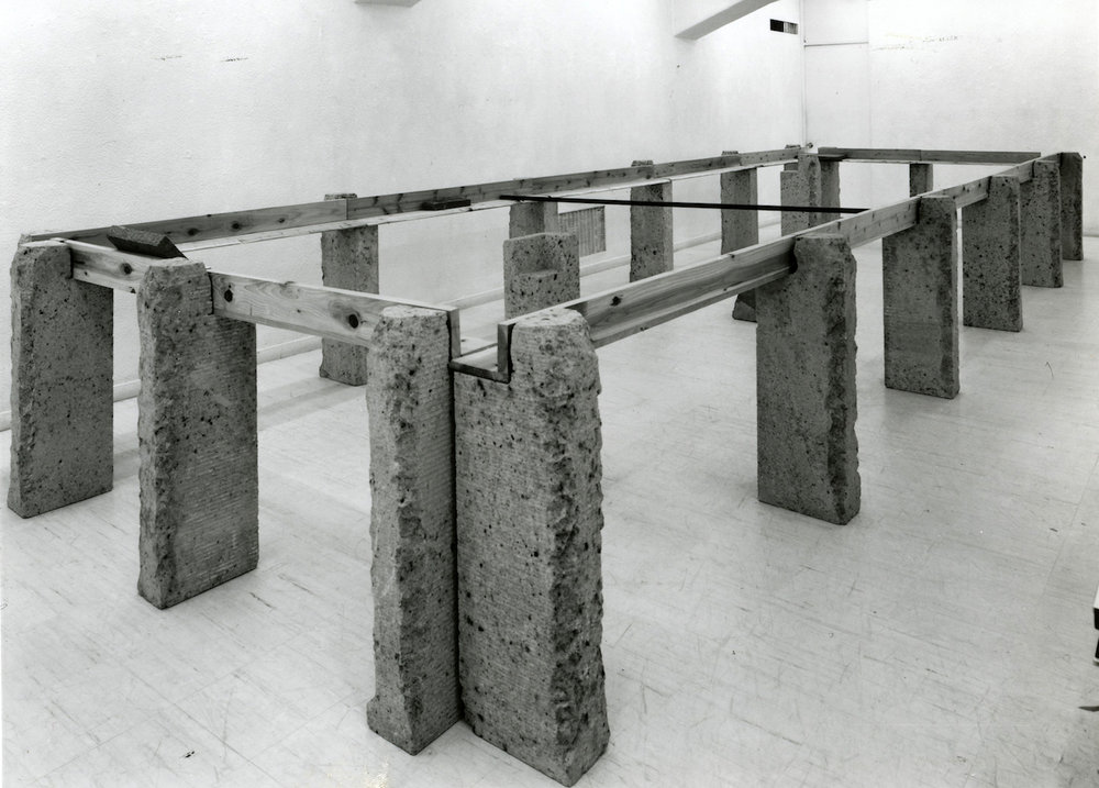 Supported Surrounding , 1987 縁辺仕帯 ( Enpen Shitai )  Wood planks, stone, aluminum 41 3/8 x 103 3/4 x 305 1/2 inches overall Installation view, Tokyo Gallery, Tokyo, 1987 Courtesy Tokyo Gallery + BTAP