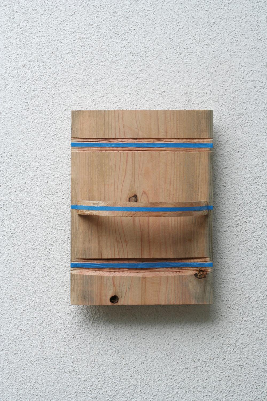 Three Lines of Cultivation , 2006 三耕同空 ( Sankōdōkū ) Wood, acrylic 15 3/4 x 11 5/8 x 5 7/8 inches 40 x 29.5 x 15 cm