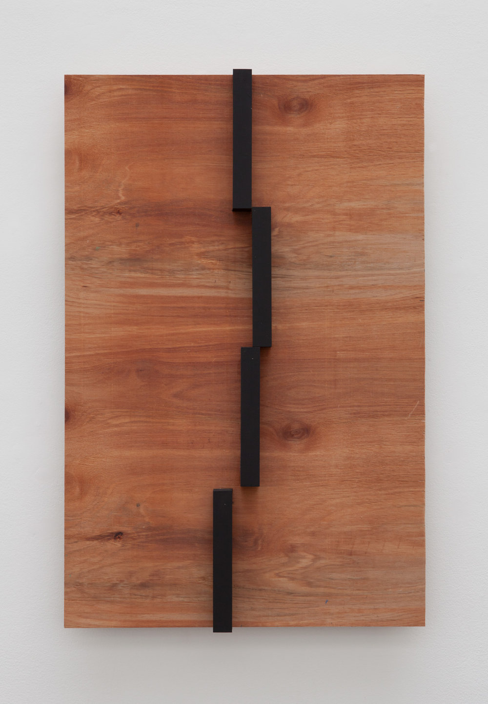 Oscillating Placement , 2015 揺場化 ( Yōjōka ) Wood, paint 35 3/8 x 23 x 3 3/4 inches 89.9 x 58.4 x 9.5 cm
