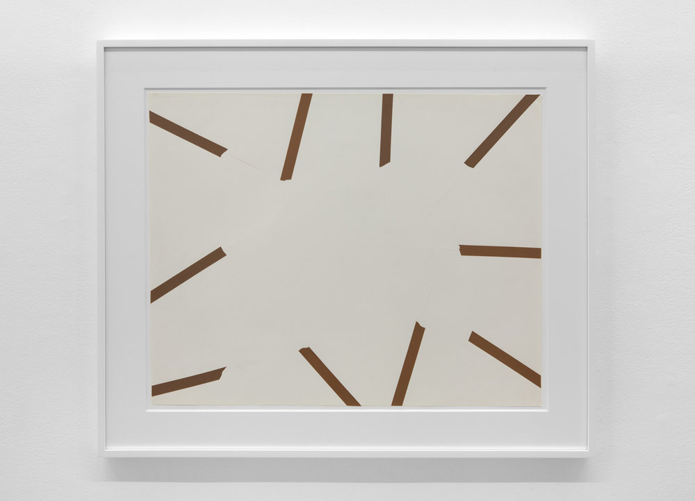 To Place 375 , 1975 Vinyl tape on paper 21 1/4 x 26 3/4 inches  54 x 67.9 cm