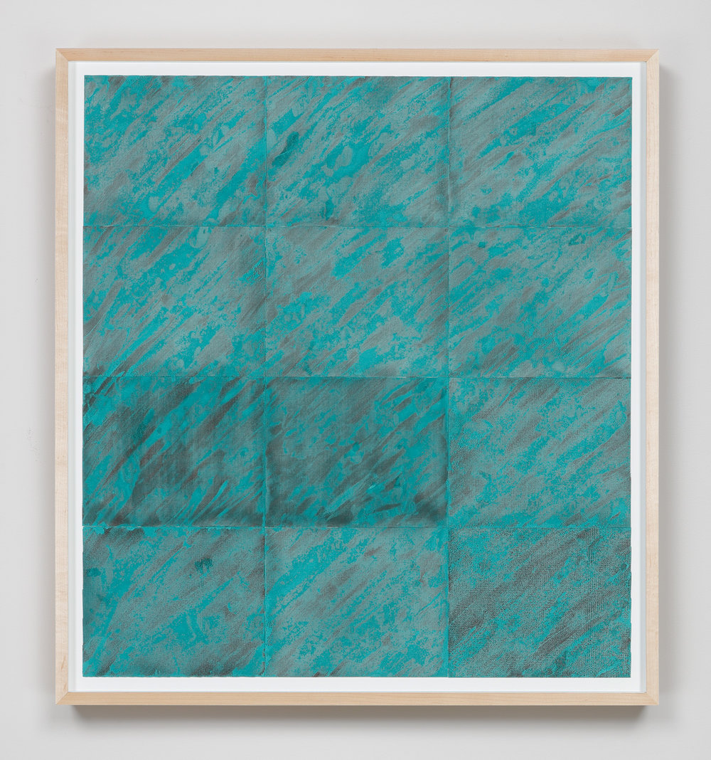 Elapsing Space , 2015 Abrasive mesh, paint 36 3/8 x 33 1/8 inches  92.4 x 84.1 cm