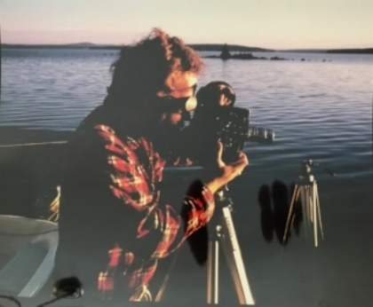 1986 Bangor, Maine- Henry films a sunset for his Award Winning Documentary, The Mountain Within The Sea.""