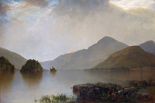 Oil painting of calm lake with mountains and clouds called Lake George by   John Frederick Kensett    in 1869