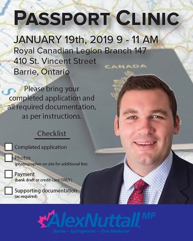 My office is hosting our annual winter passport clinic on January 19th at the Royal Canadian Legion Branch 147 from 9-11am. Be sure to bring your completed applications and any needed documents!