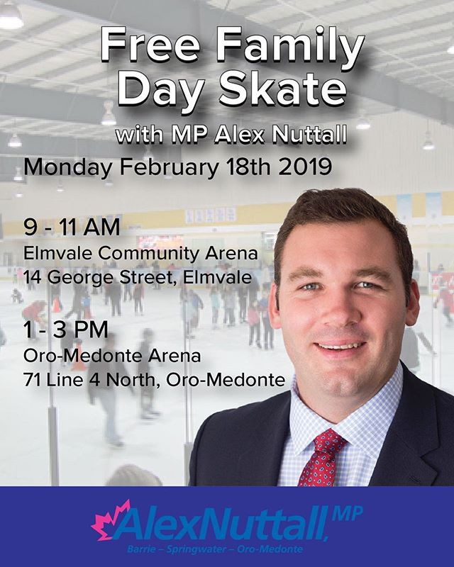 Join me this family day! I'm hosting two free skates: Elmavle Community Arena 9-11am & Oro-Medonte Arena 1-3pm ❄️🏒⛸