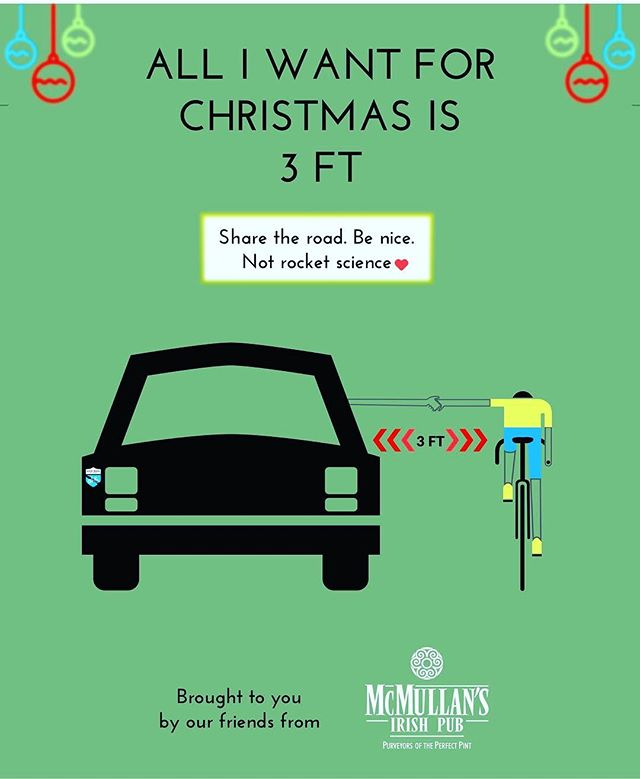 All I want for Christmas is 3FT. Share the road. Be Nice. Not rocket science. What do you want this holiday season? #nomoreghostbikes #lasvegas #cycling #cyclingshots #3ft #ridesafe #bicycles #saferoads #sharetheroad #cyclingsafety #cyclingawareness #roads #communitysports