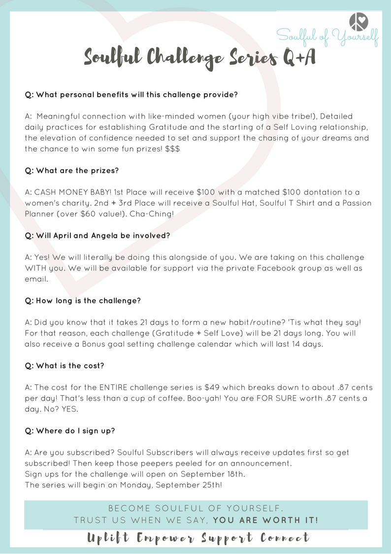 Soulful challenge series qa become soulful of yourself heres the scoop on what youll be getting with your sign up for biocorpaavc Images
