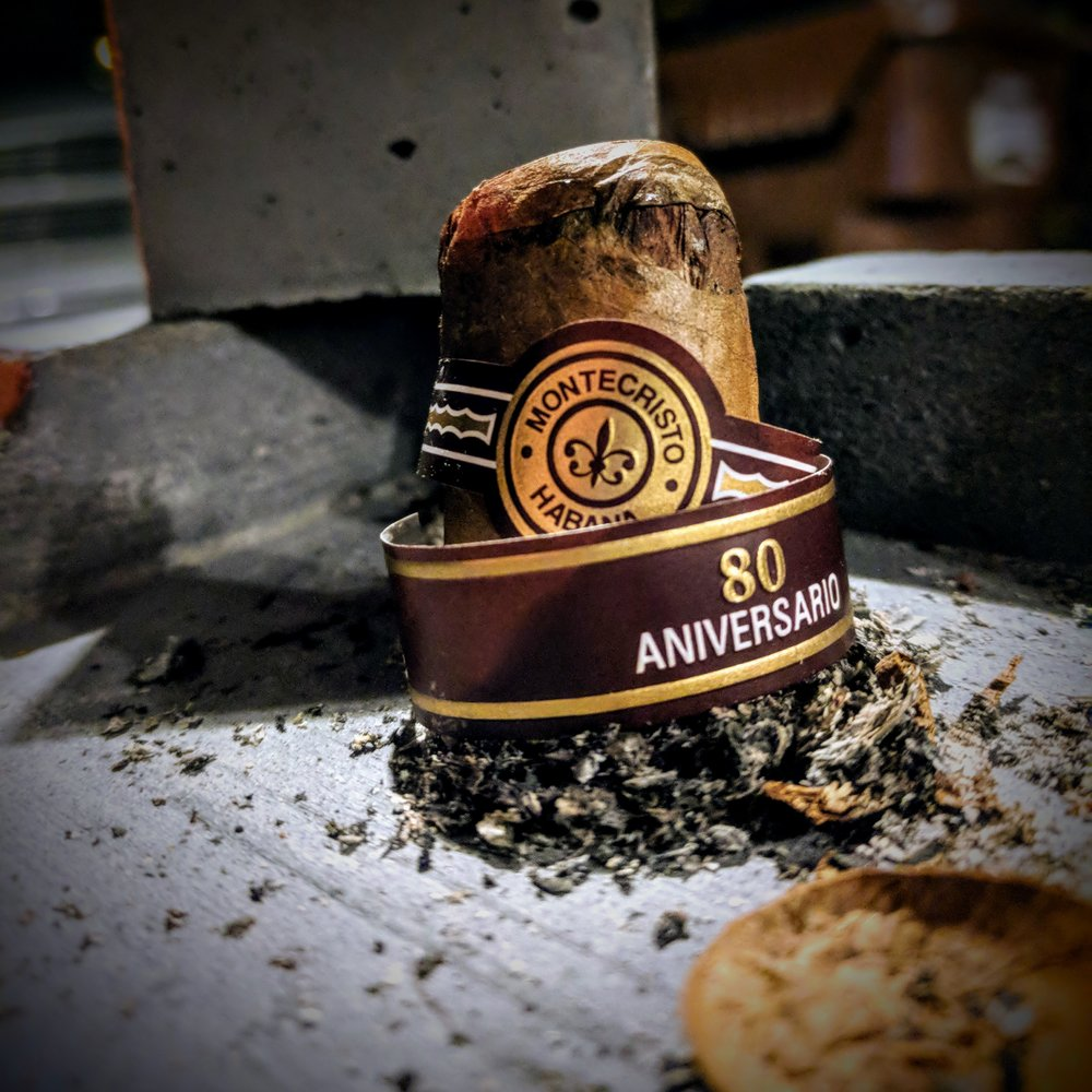 salt. not just for roads and deer.                   8.3 / 10.0 - The Montecristo 80 Aniversario started out so well - balanced with deep, complex flavors and ended with a feeling of being drowned on the shores of Cuba.The flavors start out very promising and end up being a major let down. if you like salty cigars, this is the one for you. I'll definitely give it a second chance with some time to rest but for now, i won't be shelling out the cash to grab any more of these special stogies. For the money these cigars are marketed at, they really ought to bring some better balanced flavors to the table.