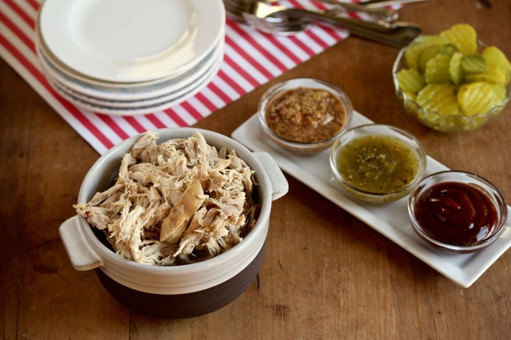 Slow Cooker Pulled Chicken: Flavorful and versatile. I have to admit, I was nervous about how it might turn out given there were so few ingredients (4) and spices (3 - of which two are salt and pepper). My house smelled delightful all day and the chicken turned out to be delicious. I used it in a quinoa bowl for lunches and included it in the freezer burritos.