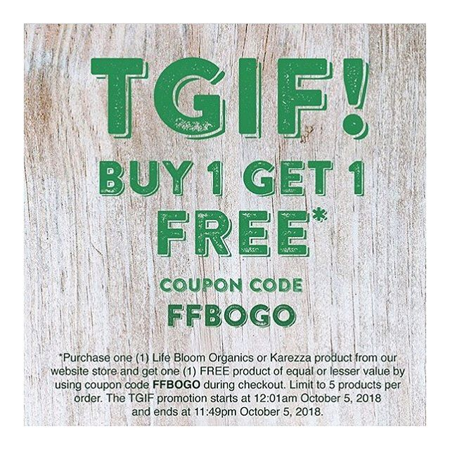 Happy Friday! Celebrate with CBD — all Karezza and Life Bloom Organics products are buy 1/get 1, today only. Link in bio, use code FFBOGO until 11:59 PM PST 💚