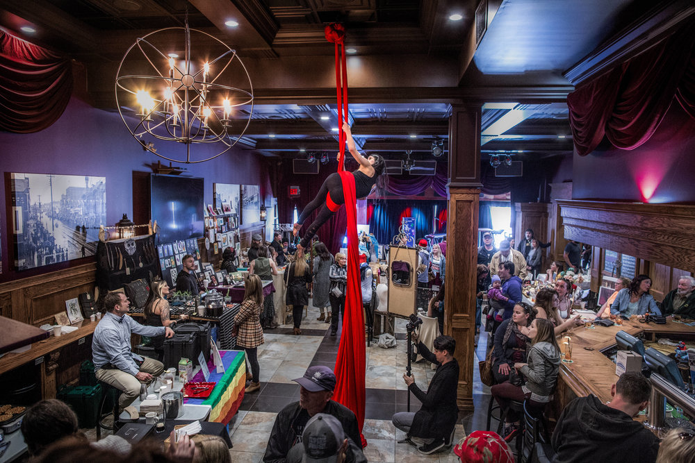 PERFORMANCE - Aerial Silk performances will be popping up at the Craft Revival this November! This element of art brings the creative energy in the room to the next level... for reals.