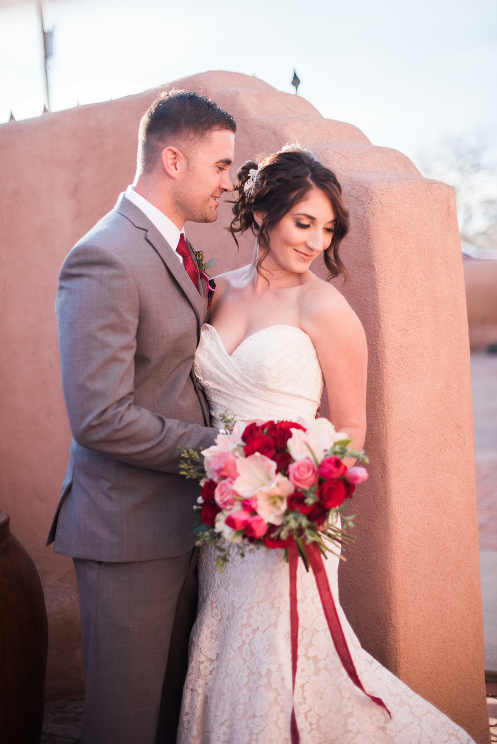 Editorial styled wedding shoot. Bridal hair & makeup, Christy Johnson, C. Johnson Makeup. Styled & coordinated by Just Lovely Weddings & Events. Location: Casa Vieja Event Center, Corrales, New Mexico. Photos by Briana Nicole Photography.