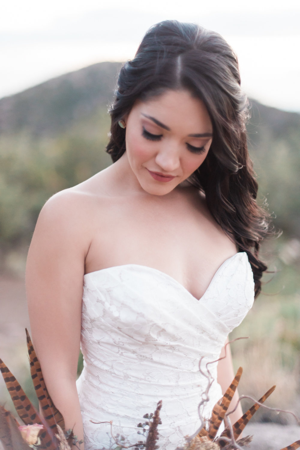 Editorial wedding shoot. Bridal hair & makeup, C. Johnson Makeup. Christy Johnson. Published online & in print. Photographer: Briana Archuleta. Sandia Foothills, Albuquerque, New Mexico.