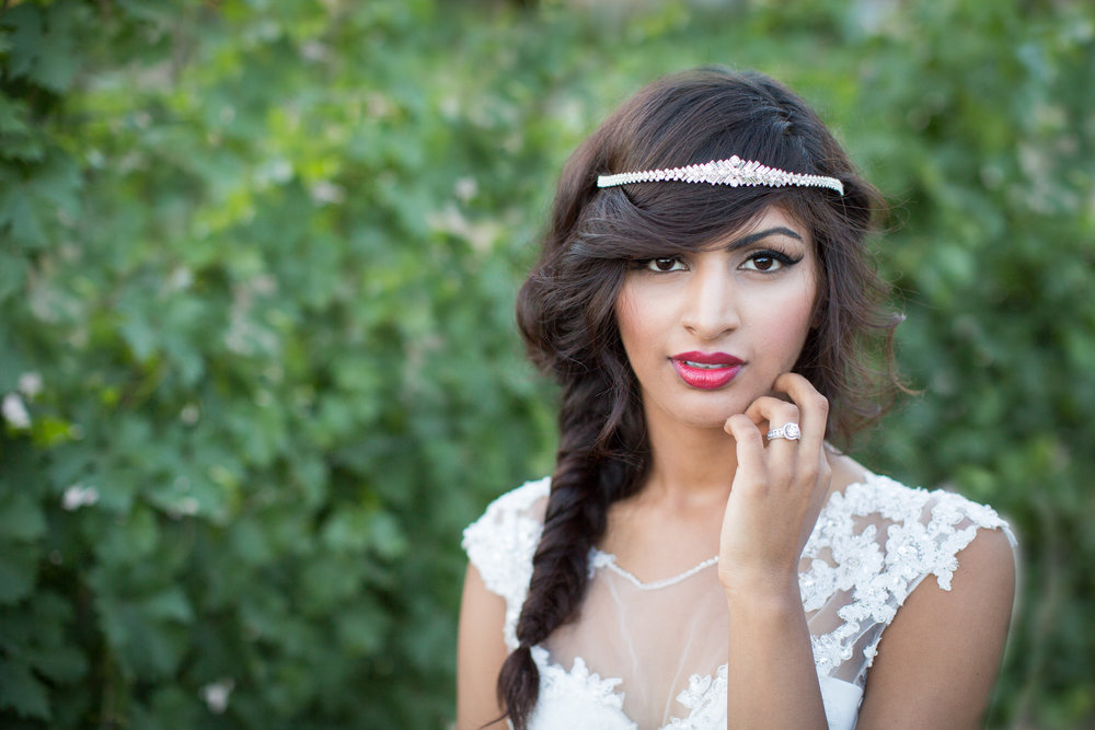 Published on Reverie Gallery & Storyboard Weddings. Model: Fatima Tahir. Headpiece & Gown: Bridal Elegance by Darlene. Photographer: Alicia Lucia Photography.