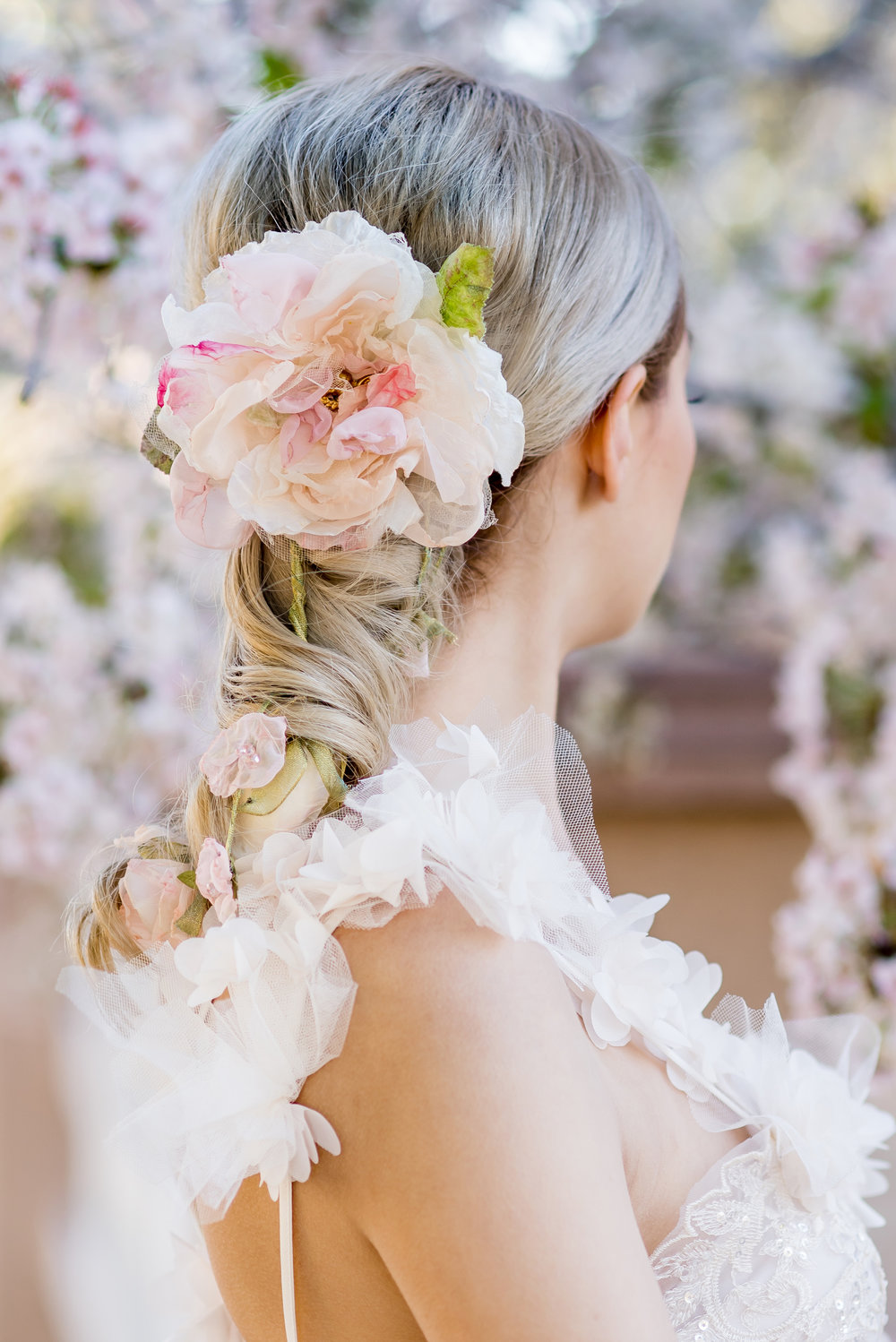 Maura Jane Photography. Hair Piece: Fiori Couture. Gown: Teresa Romero. North Valley, New Mexico.