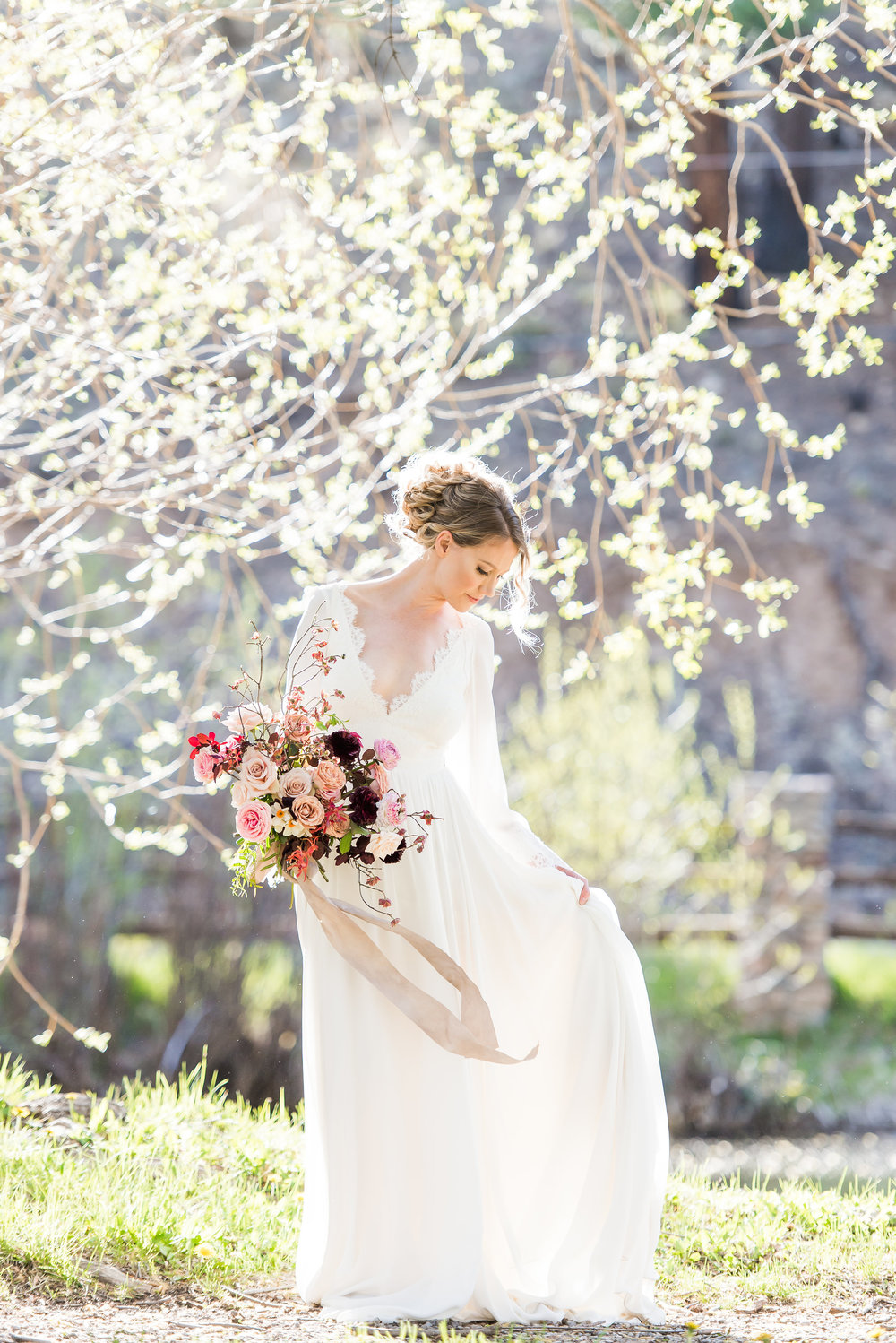 Published in Rocky Mountain Bride Magazine 2017  Venue |  Brush Ranch River Lodge  Planning | Just Lovely Weddings Florals |  Renegade Floral by Melissa Paquin ... Hair + Makeup |  C. Johnson Makeup  Design, Styling + Rentals |  Darling Details Vintage Decor Rental Co.  Cake |  Maggie's Cakes  Dress | Leanne Marshall at  Emma & Grace Bridal Studio  Suit |  Macy's  Jewelry |  Ooh Aah Jewelry Albuquerque  Vow Books | Hello Jori Photography |  Julie Haider Photography + Design  Models | Kristen + Collin