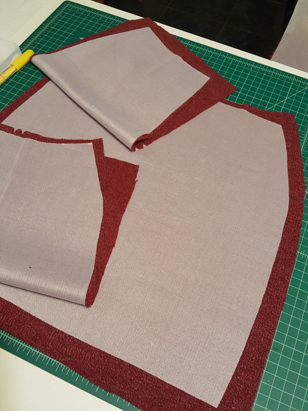For interfacing, we both used Pellon #180 Knit – N – Stable. -