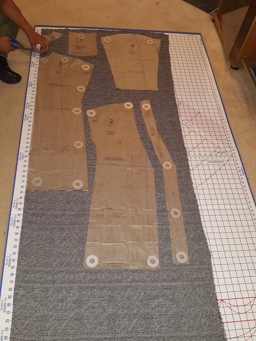 Due to the length of the pattern pieces, we pulled out the cutting board for this project! Side note, in the future I may building a new table for this exact reason.