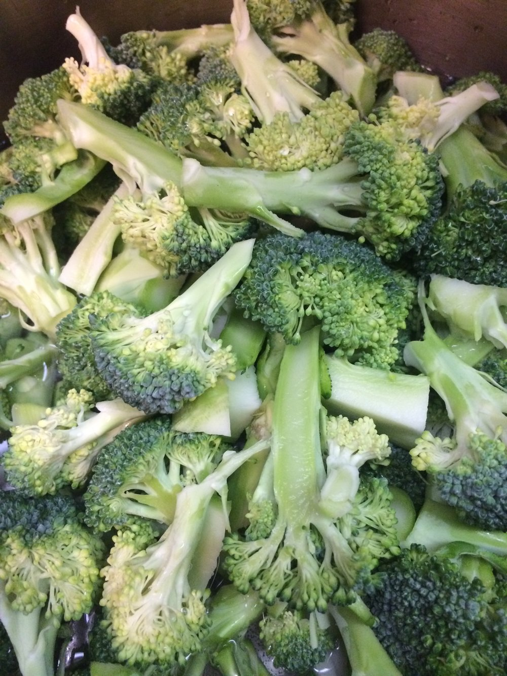 Raw, chopped broccoli before blanching