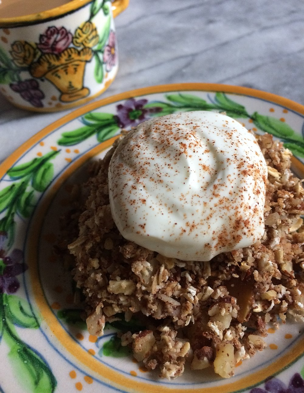 This is the best apple crisp you will ever have, and it's so healthy you can have it for breakfast! I often eat it for breakfast AND dessert.