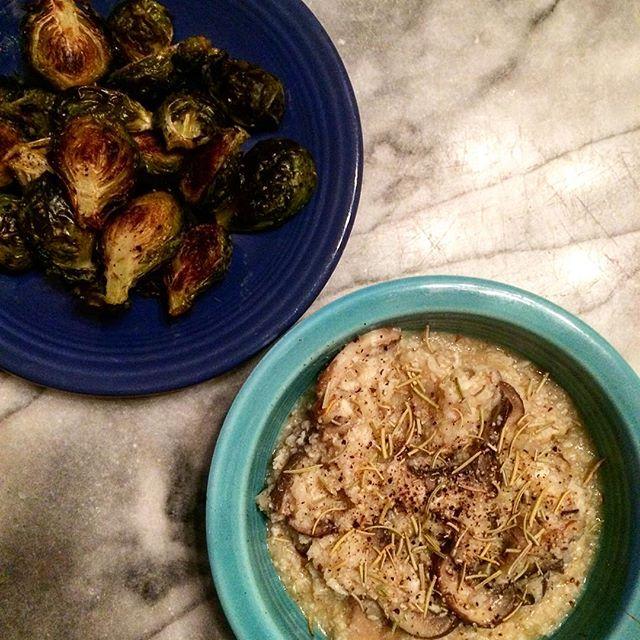 Grain free, vegan, low carb (cauliflower rice) mushroom risotto with a side of oven roasted Brussel sprouts. #allveggieeverything #vegan #healthyeats #cauliflowerrice #veggies #plantbased #poweredbyplants #veganfoodie #vegandinner #veganfoodporn #grainfree #dairyfree