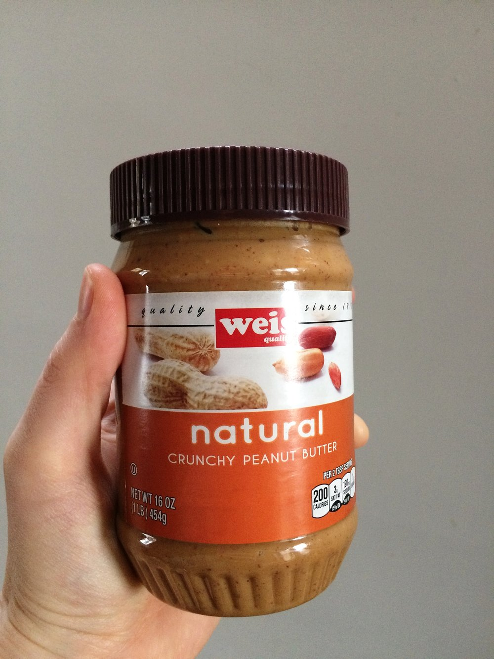 Our last photo together before the breakup (pro tip: Weis Peanut Butter is a bargain, and has NO addatives, just peanuts and salt!)