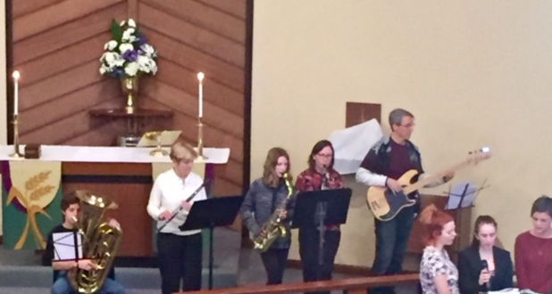 "Our multi-generational band played ""Mary did you know?"" arranges by our own member Jeff Fuhrer."