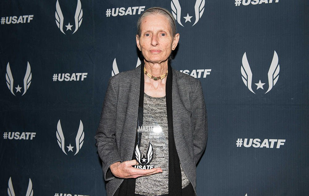 Sabra Harvey accepted her Masters Athlete of the Year award at USA Track and Field's annual awards ceremony in Columbus, Ohio. PHOTOGRAPH COURTESY OF USATF
