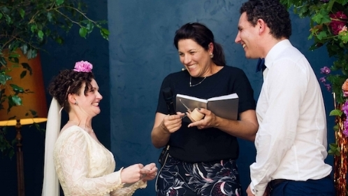'Nat was incredibly professional and our guests commented on how beautifully she told our story of love. Nat spoke sincerely and kept the vibe relaxed. Our consultations were easy and Nat took care of everything. Her follow up after the wedding was amazing and we could not recommend her more highly'- Chloe and Lydon (Nov 2017) -