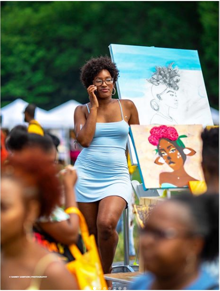 Artist Aminah Dantzler at Curlfest 2018  Photo Credit:  Instagram