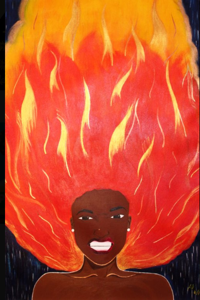 """Matches""-the first in the Emotions Series, it is the third painting Aminah ever created.  Photo Credit: AminahsHair"