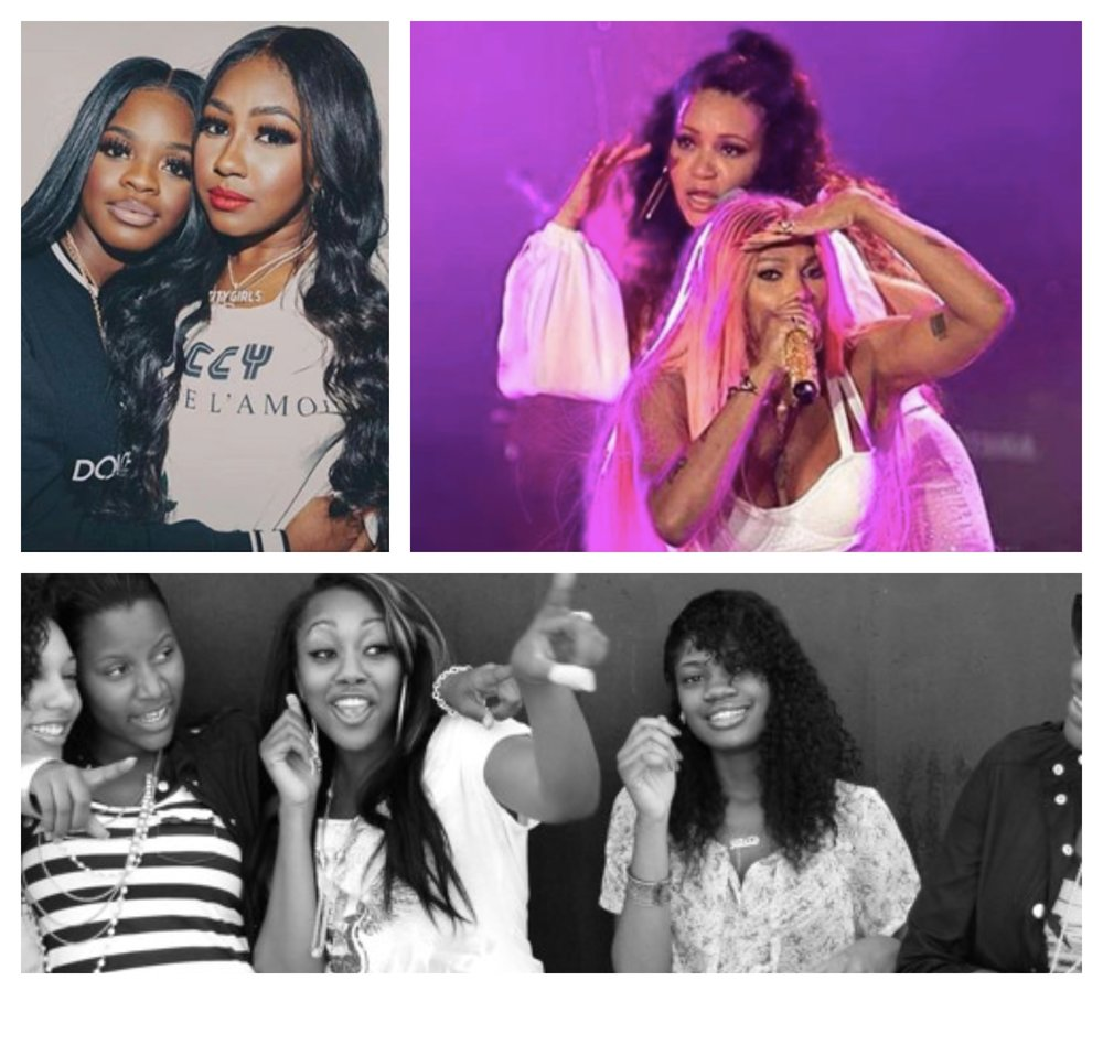 Women rap groups (from top left) City Girls, Salt-N-Peppa, and Pink Dollaz (Photo credit: Instagram)