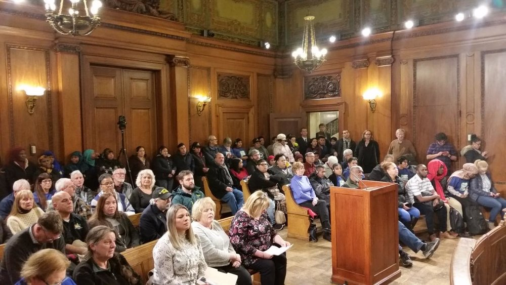 A large audience was present for the Springfield City Council's vote to override Mayor Domenic Sarno's veto of the Welcoming Community Trust ordinance.   CREDIT WAMC