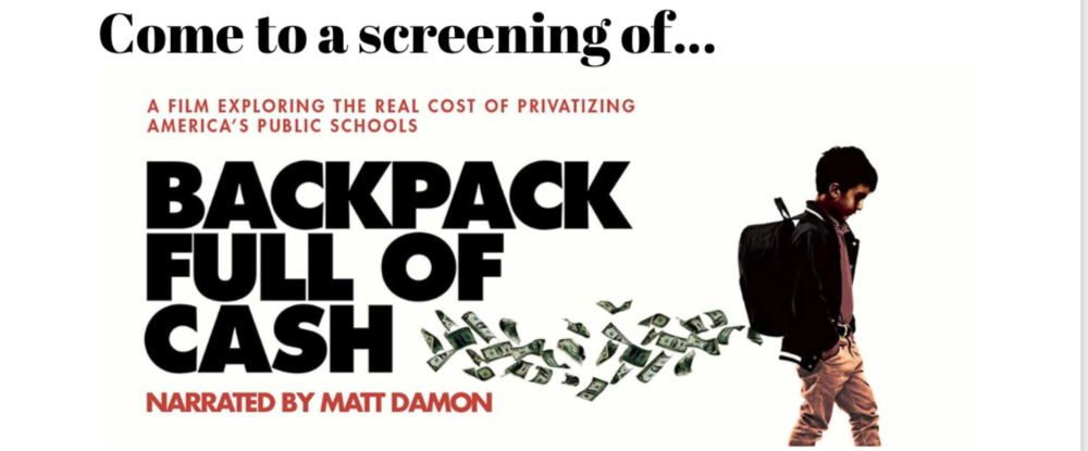 Image description: Image shows text 'Back Pack full of Cash' and boy with cash flowing from his backpack.