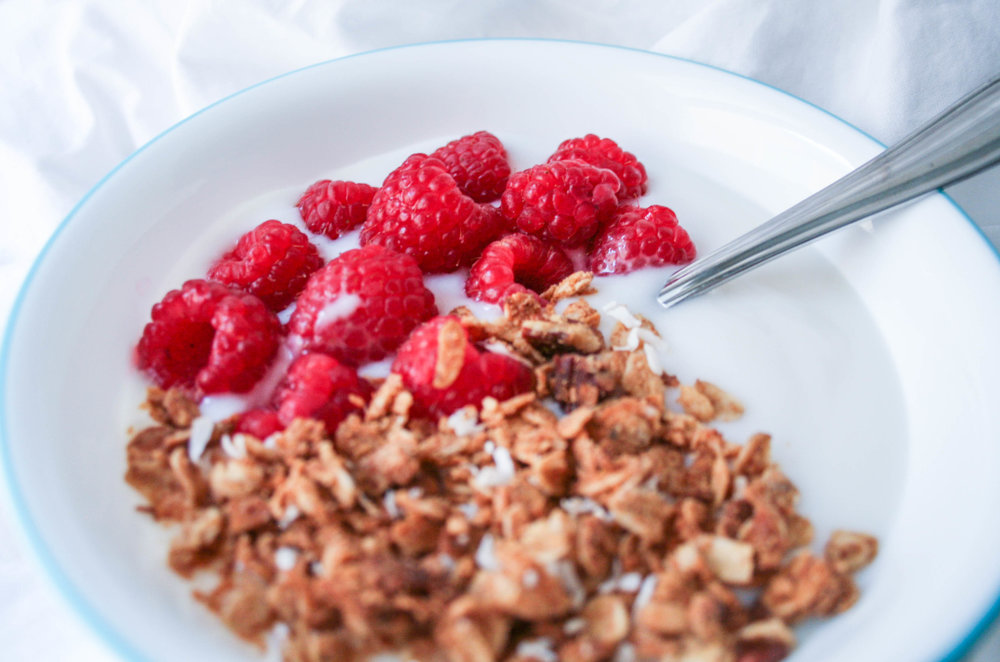 maple almond vanilla granola with coconut