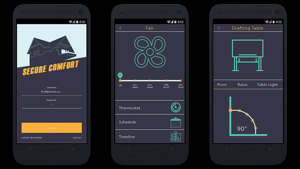 Home Security App UI Design, Rendered in Adobe Illustrator and Set in INVision
