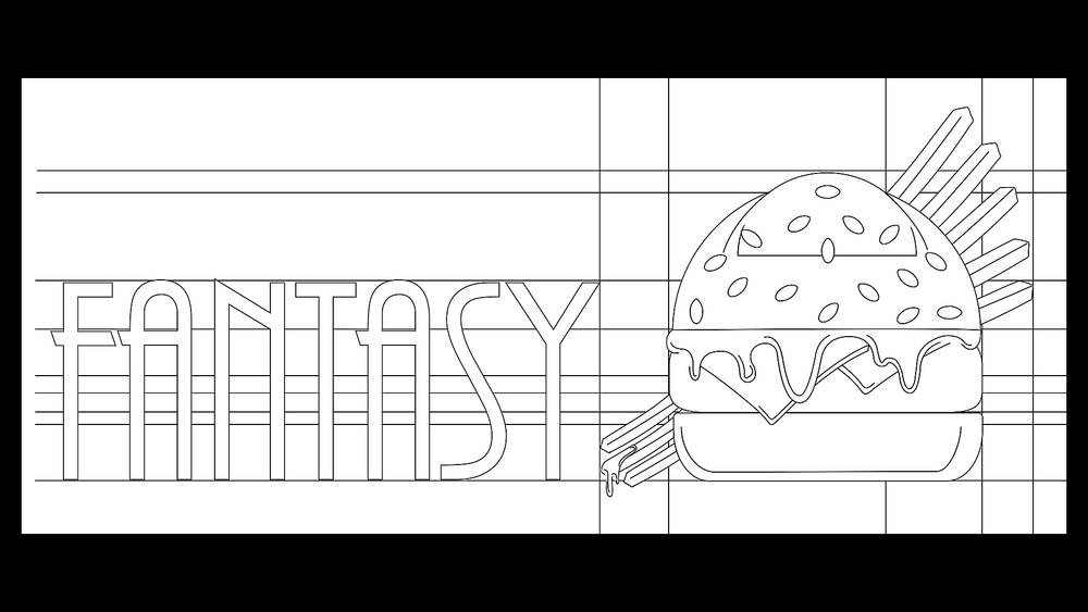 Restaurant Logo Design Outline, Rendered in Adobe Illustrator