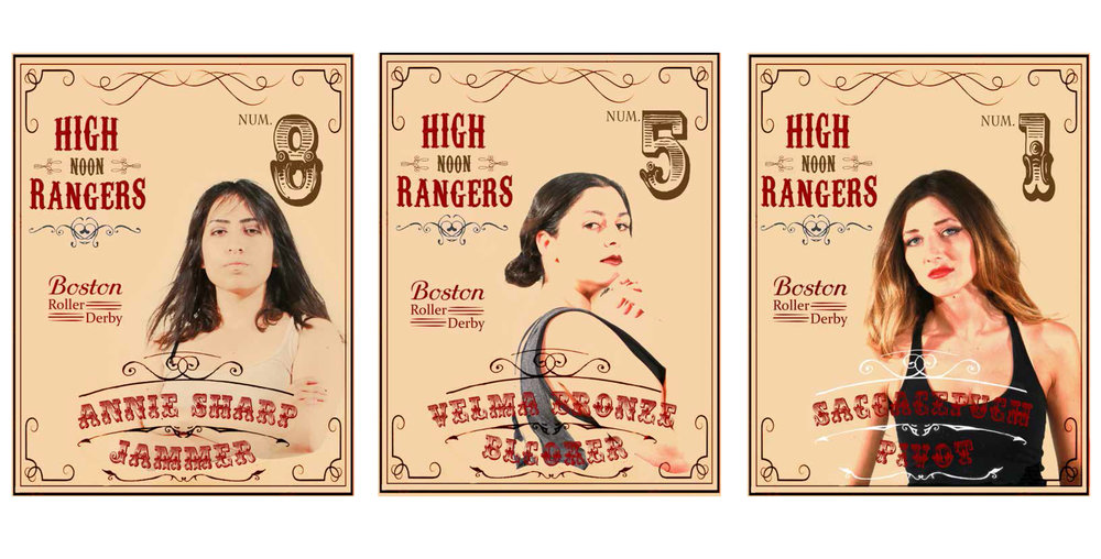 Profile Designs for Roller Derby Assignment, Rendered in Illustrator and Photoshop