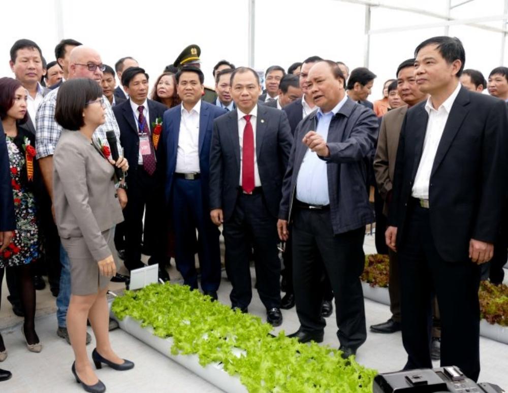 Thủ tướng Nguyễn Xuân Phúc thăm mô hình sản xuất rau sạch công nghệ cao của Vineco đầu tư tại Xuân Khê, Lý Nhân, Hà Nam