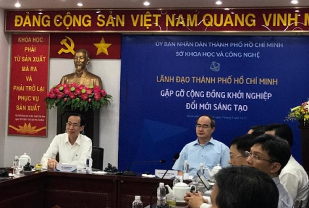 Bí thư Thành ủy Nguyễn Thiện Nhân làm việc tại Sở Khoa học & Công nghệ TP HCM