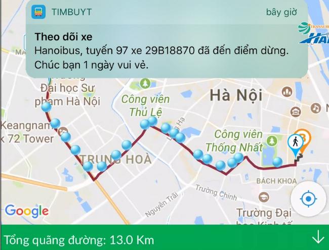 Người dùng ứng dụng timbuyt.vn trên điện thoại có thể tìm kiếm đường đi của xe buýt cũng như tra cứu thông tin các tuyến buýt về lộ trình, điểm dừng đỗ, thời gian xe tới...