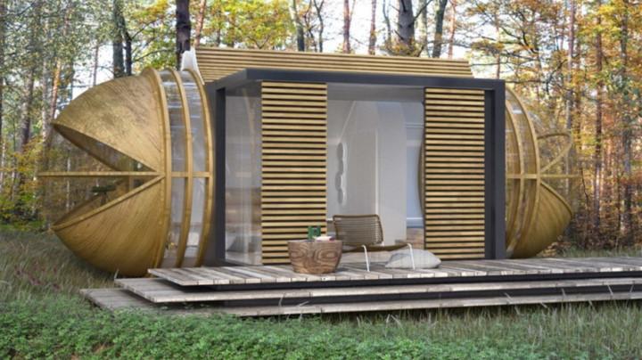 Drop Pod: Khách sạn sinh thái Drop khác biệt vì không được thiết kế như một ngôi nhà mà là một phòng khách sạn cho những người du cư. Ngôi nhà được đúc sẵn bao quanh bởi gỗ, có khe ở giữa để kiểm soát tăng năng lượng mặt trời, cung cấp ánh sáng vào ban ngày và hệ thống tái chế nước mưa.
