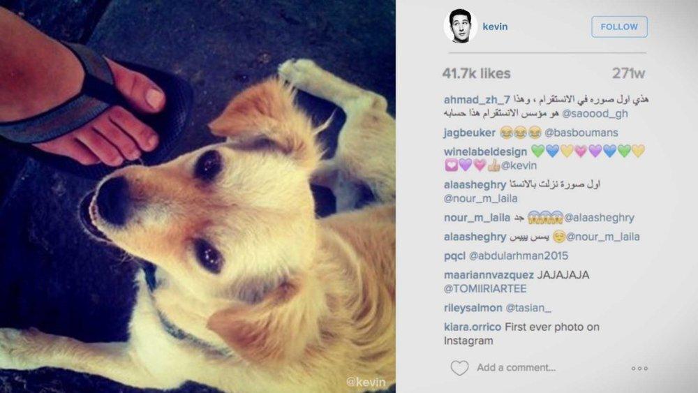 """16/07/2010 - Instagram - CEO và cũng là nhà sáng lập của ứng dụng chia sẻ ảnh Instagram Kevin Systrom ra mắt nền tảng truyền thông xã hội này với một bài đăng không giống bất kì bài đăng """"triệu lượt theo dõi nào"""": bức ảnh một chú cún dễ thương."""